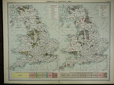 1903 Antique Map ~ England & Wales Commercial & Industrial Mineral Manufactures