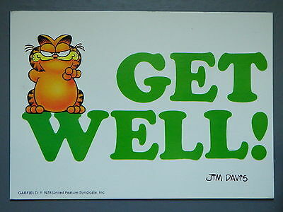 R&L Modern Postcard: Garfield Posted 1980's, Jim Davies, Get Well, Argus
