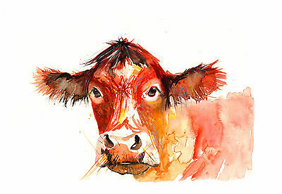 Watercolour Red Cow Moo Farm A3 Print Large Signed Pop Art Abstract Wall