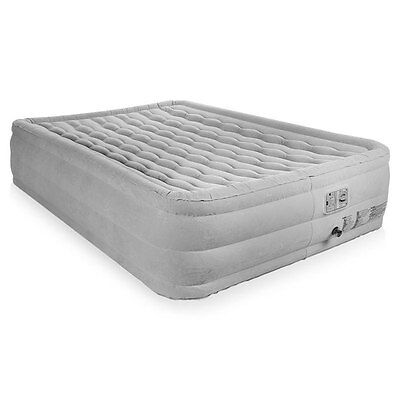Deluxe Queen Size High Raised Flocked Comfort Air Bed Airbed W Built In Pump