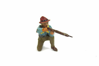 Antike Wild West ELASTOLIN Germany Massefigur Cowboy Trapper Gewehr knieend 1918