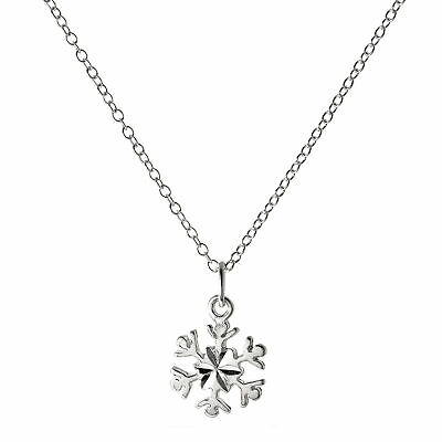 925 Sterling Silver 18 Inch Diamond Cut Snowflake Necklace Pendant Winter Chain