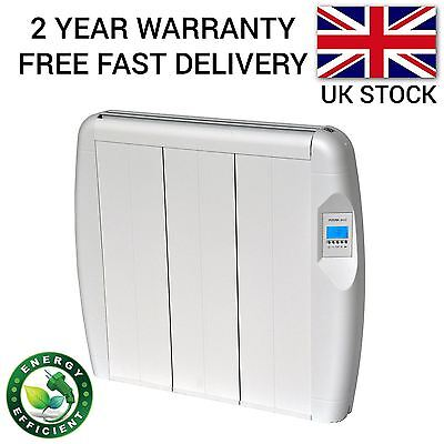 900W Slim Electric Panel Radiator Wall Mounted Heater Thermostat & Timer