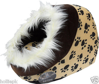 Fur Edge Cat Kitten Cave Bed Brown & Tan Paw Prints  Cushion 16 X 14 X 12 ''