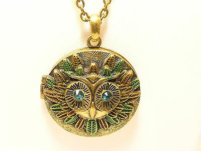 Ladies Necklace Locket Brass Owl blue glass eyes Jewel tones 28 inch chain