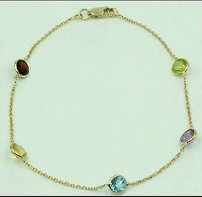 Multi-Color Gemstone Bracelet ,14k Yellow Gold Lobster Lock, 7 + with 5mm round