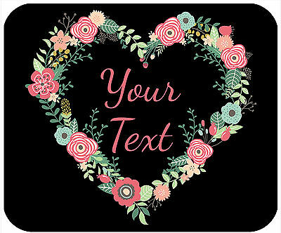 Mouse Pad Custom Personalized Thick Mousepad-Floral Heart Wreath-Any Text