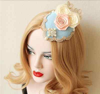 Lace Fascinator Hat Flower Elegant Hair Clip Beaded Wedding Cosplay Boho Classic