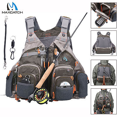 Fly Fishing Vest Adjustable Mesh Vest & Magnetic Release Holder With Cord
