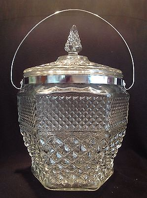 Very Large GLASS CRYSTAL Large ICE BUCKET BISCUIT BARREL Hollywood Regency