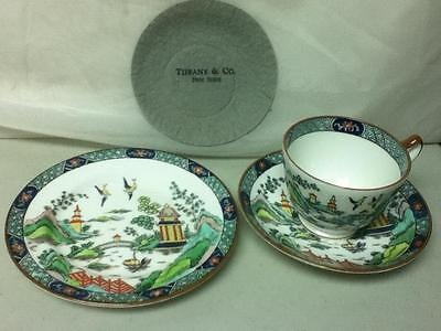 Crown Staffordshire,England Gaudy-Blue Willow Trio, Cup, Saucer and Breadplate