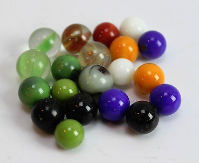 Lot of 20 Vintage Marbles Some 1 Color Cats Eye Orange Blue Black White