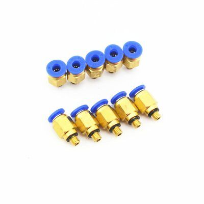 10Pcs  AIR HOSE FITTING 4MM OD Tube x M5 Thread Push to connect one touch