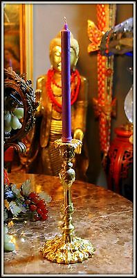 """BEAUTIFUL """"Gilded Baroque Brass Candlestick""""  (12.5"""" High x 6"""" Wide) with Candle"""