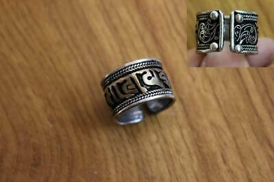 RG259 Tibetan Silver & Brass Buddhist Six Words Mantra Weaving Adjustable Ring