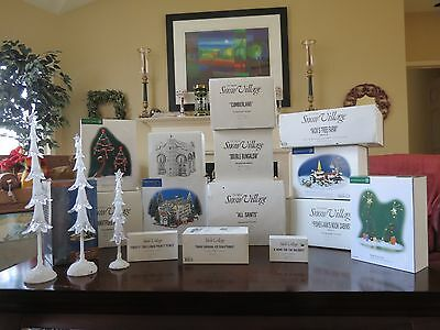 Dept 56 Snow Village Large Lot of 8 Buildings & 7 Boxes of SV Accessories