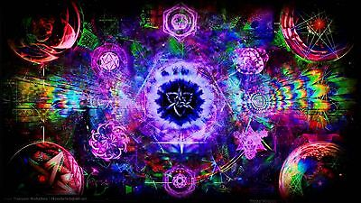 "Psychedelic Trippy Art Silk Cloth Poster 24 x13"" Decor 103"