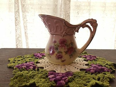 Antique Austrian Porcelain Creamer * Roses Floral * Pink Shabby Chic