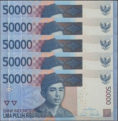 INDONESIAN 50,000 x 5 Pieces =1/4 Million Rupiah,IDR, Banknotes, UNC