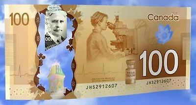 """Canadian $100 Dollar Superb Gem Uncirculated Banknote""""best Price+Most Beautiful"""""""