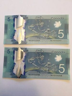 """CANADA $5 Dollar""Polymer Y2013""SUPERB GEM UNC"" 2 Banknotes""CONSECUTIVE NUMBERS"""