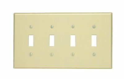 Leviton 80512-I 4-Gang Toggle Device Switch Wallplate, Midway Size, Thermoset,