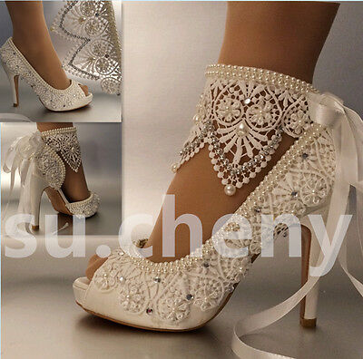 "3"" 4"" heel satin white ivory lace ribbon ankle open toe Wedding shoes size 5-11"