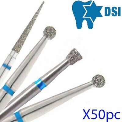 50x Israel Dental FG Diamond Bur for High Speed Blue Medium Grit - Choose shape