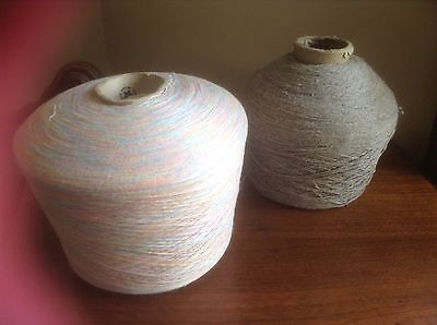 VINTAGE MACHINE KNITTING YARN ON CONES GRAY MULTI COLOR PINK BLUE 5.5 Lb THREAD