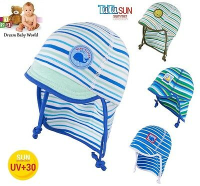 100% Cotton TIE UP hat with UV +30 SUN PROTECTION Spring - Summer BABY BOYS
