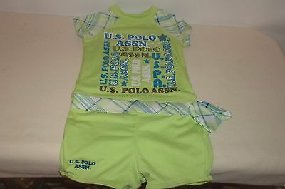US Polo Assn Girls 6/ 9 M 2pc Lime Green Swimsuit