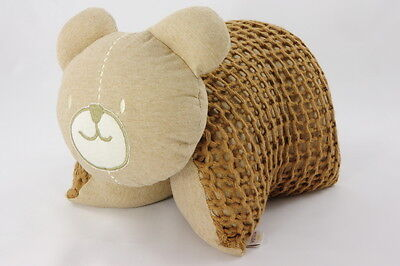 Organic Naturally Coloured Knitted Bear Cuddle Pillow Brown Made in Brazil