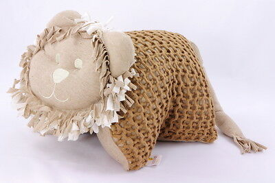 Organic Naturally Coloured Knitted Lion Cuddle Pillow Brown Made in Brazil