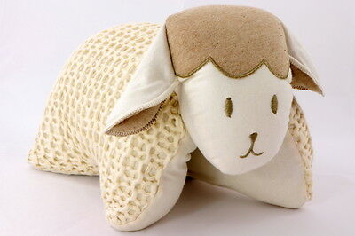 Organic Naturally Coloured Knitted Sheep Cuddle Pillow Ivory Made in Brazil
