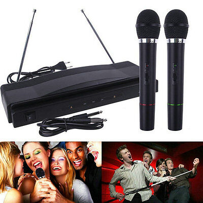 Professional Wireless Microphone System Dual Handheld 2 x Mic Receiver IT