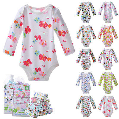 Newborn Baby Cotton Long Sleeve Bodysuit Romper Triangle Climbing Clothes HO