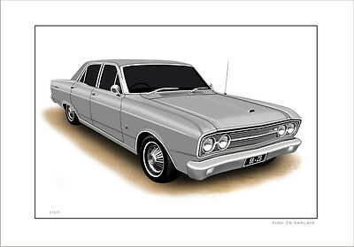 Ford  68'   Zb  Fairlane  500  302 V8    Limited Edition Car Print  Drawing