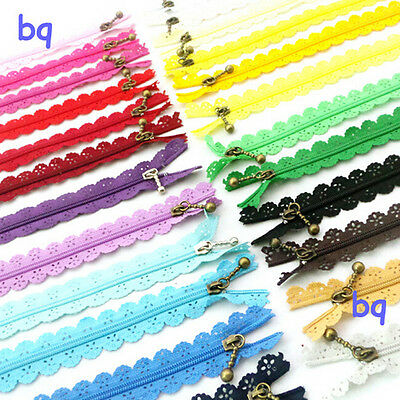 10Pcs 20cm Multicolor Nylon Closed End Lace Zipper for Clothing  GTAU
