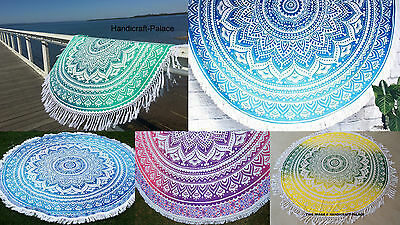 Indian Roundie Round Ombre Mandala Tapestry Beach Throw Towel Yoga Mat Bohemian