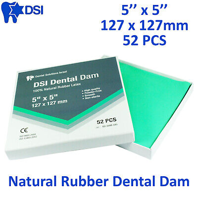Dental Rubber Dam Sheet Natural Latex Dura Dam 52 Units 5*5 Inches Mint