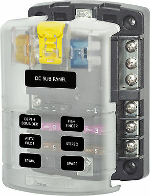 Blue Sea ST Blade fuse block, 6 way fuse distribution panel with neg bus & cover