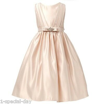 Zoe Champagne Satin Flower Girl Dress Reduced From £50!