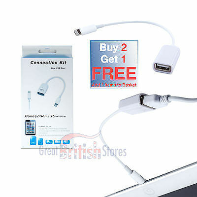Lightning 8 Pin to USB Camera Adapter Connector OTG Cable for iPad 4 Mini Air/2