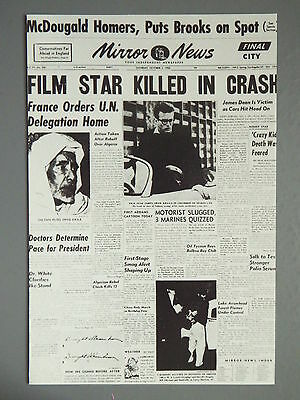 R&L Modern Postcard: James Dean UK Newspaper Article Car Crash Death