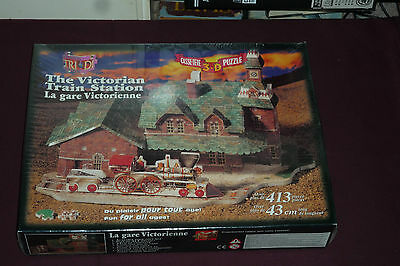 Vintage Tri-Di 3-D Puzzle The Victorian Train Station Over 413pcs NEW & SEALED