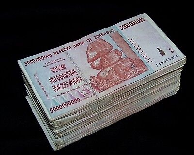 200 x Zimbabwe 5 Billion Dollar bank notes -2 bundles
