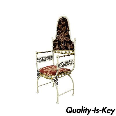 Antique Oscar Bach Wrought Iron and Bronze Renaissance Revival Throne Arm Chair