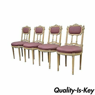 Set of 4 French Louis XVI Directoire Style Drape & Bow Carved Dining Side Chairs