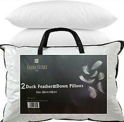 2 Hotel quality Duck Feather & Down Pillows. Extra filling best quality pillows