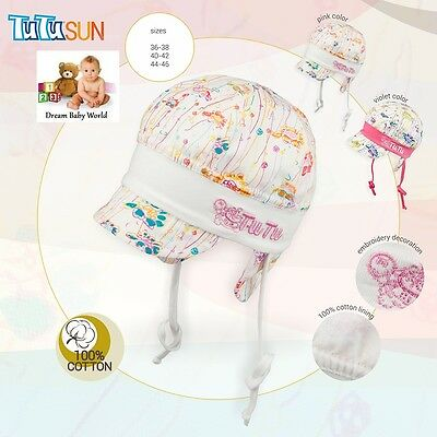 100% Cotton girls sun hat TIE UP Spring - Summer size newborn & 6 - 12 months